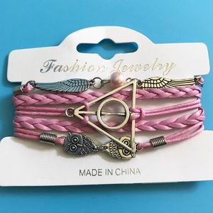 ⚡️HP // Pink Leather Deathly Hallows Bracelet